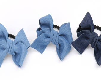 Very thick denim fabric hair bows hair accessories Hair elastic Thick rubber band hair bows for women ponytail holder Fabric ribbon bows