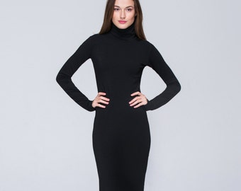 Classic Midi Dress \ FREE Shipping \ CUSTOM MADE \ Long Sleeves Casual Dress \ Elegant Black Winter Dress \ Mock Neck \ Minimalist