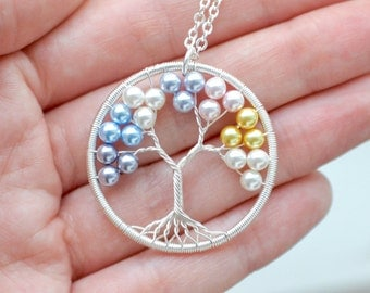 Pearl Family Tree Necklace Silver, Mother's Day Gift for Mom, Family Necklace, Tree of Life Necklace, Mothers Day Gift, Grandmother Gift