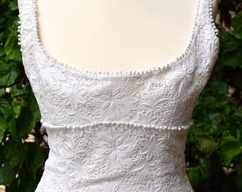 JACQUES HEIM 1960 White Broderie Anglaise Dress