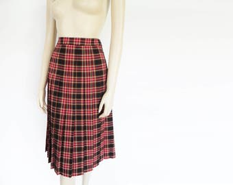 Red Tartan Skirt, UK12, 1990s, Secretary Skirt, Scottish Skirt, Pleated Midi Skirt, Boho Skirt, Red Tartan, Ladies Clothing