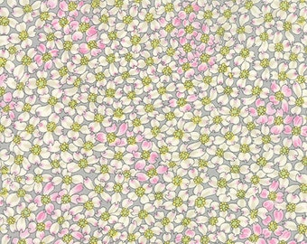 By The HALF YARD - Dogwood Trail 2 by Sentimental Studios for Moda, Patt. #33033-14 Steel Floral, Tonal Small Pink and White Flowers on Gray