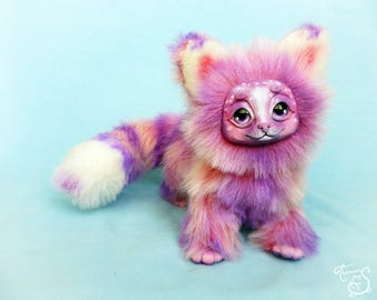 Pink sweet marshmallow candy cat stuffed toy ooak