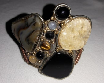 Semi Precious Stones Cuff Bracelet Vintage Silver Plated and Gold Plated Accents