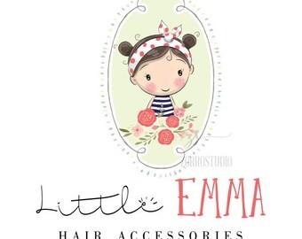 Premade Logo Design Baby Girl Headbands Clothing Hair Accessories Birthday Invite Logo Custom Business Card Branding Shower Sign PL202