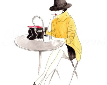 Cafe Paris Street Style Fashion Illustration, Original Watercolor Painting, Coffee Art 8X10 Decor