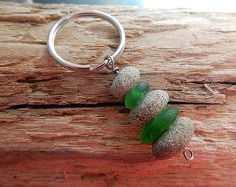 Green Sea Glass and Beach Pebble Stack Key Chain - Real Seaglass and Beach Stone Sea Stacker Cairn Key Ring KR07