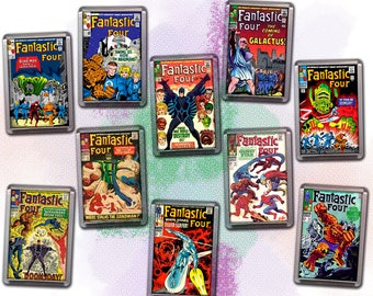 "SILVER AGE Comic Book Cover Magnets - Acrylic 2""x3"" Refrigerator Magnets - Fantastic Four - Kirby Cover Artwork - Series #1"