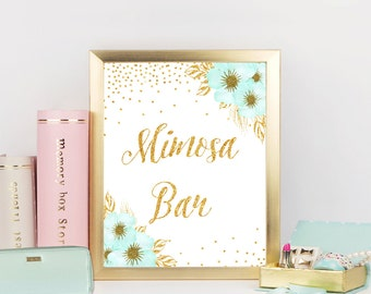 Mimosa Bar sign, Mint and Gold Bridal shower sign,Bridal Shower Mimosa Bar Sign, Printable Sign, Bridal shower decorations,Party sign, ConfM
