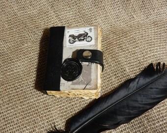Biker, Mini, Handmade Book, Journal, Travel Journal, Diary, Sketch Book, Men's, Man's Gift,Dragon, Wax Seal, Miniature, Motorbike, Stamp