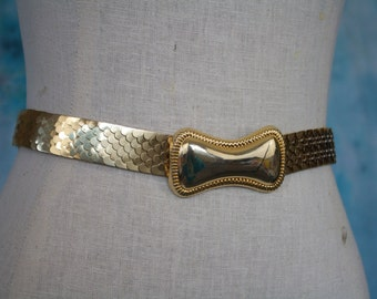 1970s Gold Metal Fish-scale Sequin Stretch Belt