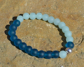 Turquoise Sea Glass and Sterling Silver Stretch Bracelet