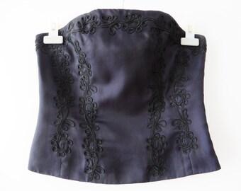 Purple Silk Corset Embroidered Corset Dark Purple Corset Boned Bodice Top Strapless Silk Top Sweetheart Bust Steampunk Top Size Medium
