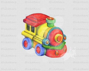 Clipart Clip Art Hand Painted Watercolor Colored Pencils Whimsical Childrens Single Illustration PNG JPG -  Toy Choo Choo Train