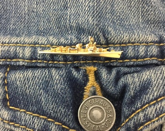 Vintage Battleship pin, brooch (stock# 372) navy, ship, flair, military, gold tone, lapel pin, hat pin