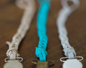 TWO*** Suede Braided Pacifier Clips