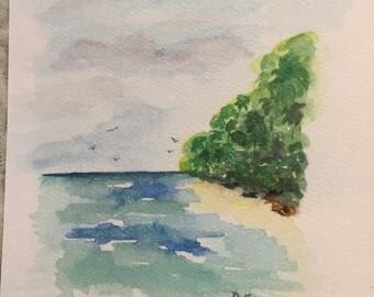 Beach scene, watercolor