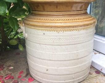 Large Glazed Antique Stoneware Jar / Pot
