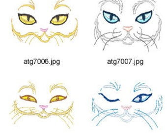 Feline-Faces ( 8 Machine Embroidery Designs from ATW ) XYZ17C
