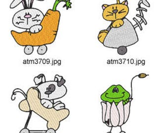 Funny-Critter-Strollers ( 7 Machine Embroidery Designs from ATW ) XYZ17D