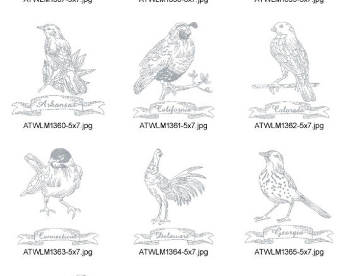 Redwork-State-Birds-1 ( 10 Machine Embroidery Designs from ATW )