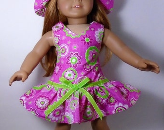 "18"" Doll Clothes fit American Girl Sundress & Hat PINK and GREEN"