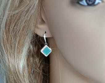 Handmade Mint CZ Princess Cut Halo Dangle Bridal Earrings, Bridal, Wedding (Sparkle-2437-U)