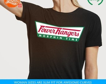 Womens Fit:  Power Rangers Shirt / Krispy Kreme Meme Tee / Movie Inspired / Morphin Time / Power Rangers Krispy Kreme Parody Shirt / Logo
