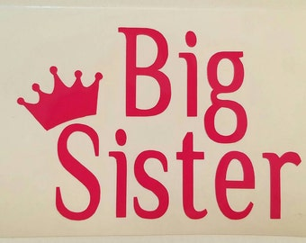 IRON ON Big sister or little sister with a princess crown iron-on decal - siblings decals. Decal Only- Perfect for girls DYI shirt or bag.