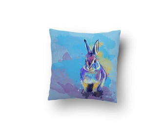 Bunny Throw Pillow - bunny pillow, rabbit pillow, rabbit lover gift, colorful home decor, baby shower gift, nursery decor, animal cushion