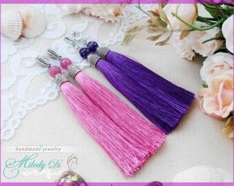 Chandelier woman earrings Long tassel earrings Pink rubellite jewelry for lady Silk purple earrings for girlfriend Violet amethyst earrings