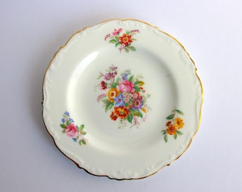 "Coalport Bone China Plate / Saucer / Tea Plate / Small Plate / ""Fragrance"" / Made in England / Marked / Nice / Floral Design / Mid Century"
