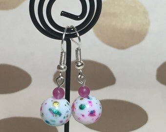 Pink, Turquoise, Gold and White Speckled Earrings