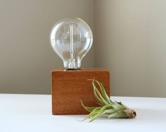 Minimalist natural wood block lamp | solid South American mahogany wood