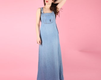 90s Vintage Denim Overall Maxi Dress