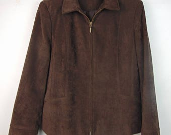 Vintage Dark Brown Faux Suede Jacket