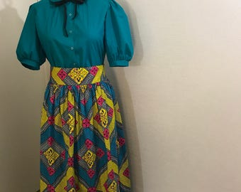 Two Piece Aqua Blue Vintage Top and African Print Skirt, Buy single or together