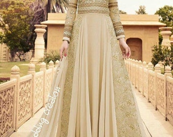 Indian anarkali dress Cream color evening dress long sleeves dress 2017