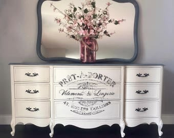 Sold ~ Breathtaking French Provincial 9 Drawer Dresser and Mirror Set - Antique White and Grey