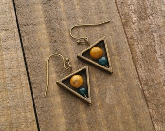 Geometric Earrings - Triangle Earrings - Handmade Beaded Metal Earrings by LittleMillieShop