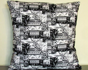 Black and White Pillow Cover, Music Pillow, Made in Canada, Decorative Pillow Cover, Throw Pillow, Accent Pillow, 18x18 Pillow, Handmade