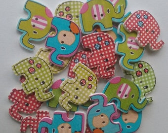 Wooden elephant buttons x 8 sewing crafts cardmaking scrapbooking hair accessories