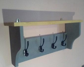 Custom painted coat rack and shelf (4 hook) - choose a colour