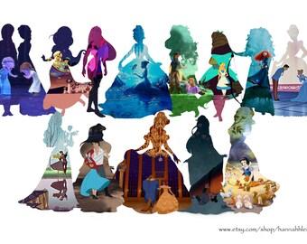 Disney Princesses silhouette framed print - all princesses