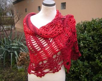 Scarf, shawl, stole, Cape, crochet, crochet, knit, Red