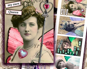 QUEENS & CROWNS - Digital Printable Collage Sheet - Atc Cards - Aceo - Scrapbooking - Journaling - Mixed Media - Gift Tags - Magnets - Art