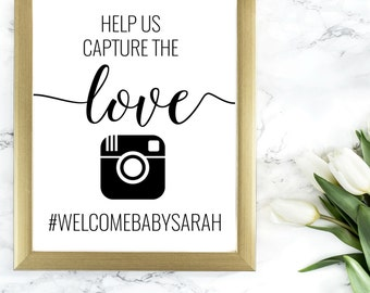 DIY PRINTABLE Rustic Baby Shower Hashtag Sign | oh snap share the love | Baby Shower Printable | Calligraphy Print | Suite | OB14