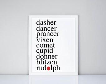 Santa's Reindeer Names Printable, Digital Printable, Christmas Printable , dasher dancer prancer vixen comet cupid donner blitzen rudolph