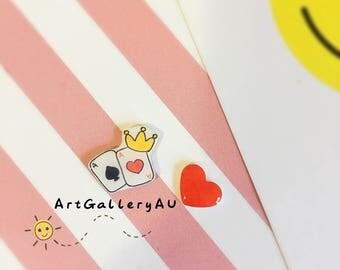 Kawaii poker Heart Earrings, Cute red Heart Studs, Handmade Stud Earrings, Gift for Her