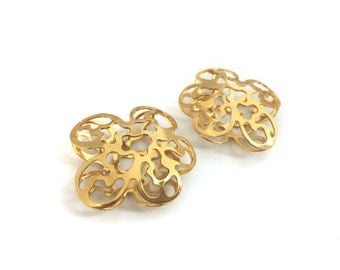 37x40 Big Brass Filigree Flower Pendant, Gold Plated, Necklace Pendant, 1pc, Made In Italy